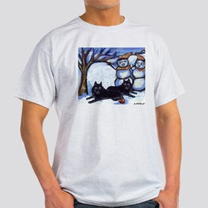Schipperke Winter Season Dog  Ash Grey T-Shirt