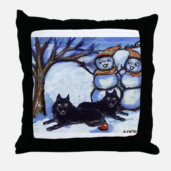 Schipperke Winter Season Dog  Throw Pillow