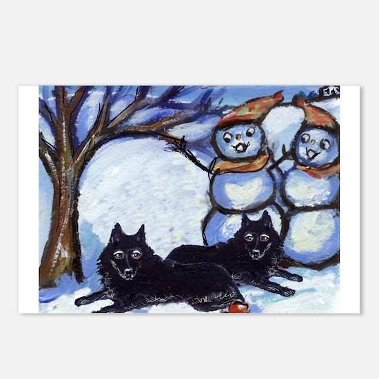 Schipperke Winter Season Dog  Postcards (Package o
