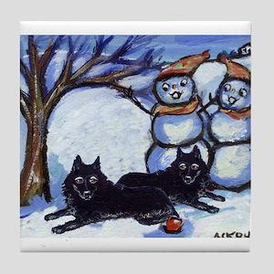 Schipperke Winter Season Dog  Tile Coaster