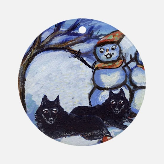 Schipperke Winter Season Dog  Ornament (Round)