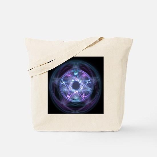 Witchcraft Blue Fire Pentagram Tote Bag