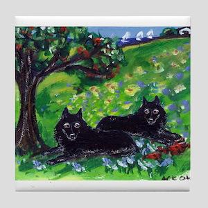 Schipperke Summer Season dog  Tile Coaster