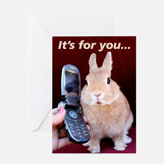 Bunny on Phone Greeting Card
