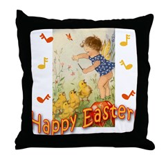 Musical Happy Easter Throw Pillow