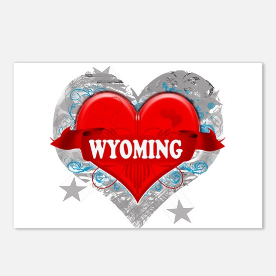 My Heart Wyoming Vector Style Postcards (Package o