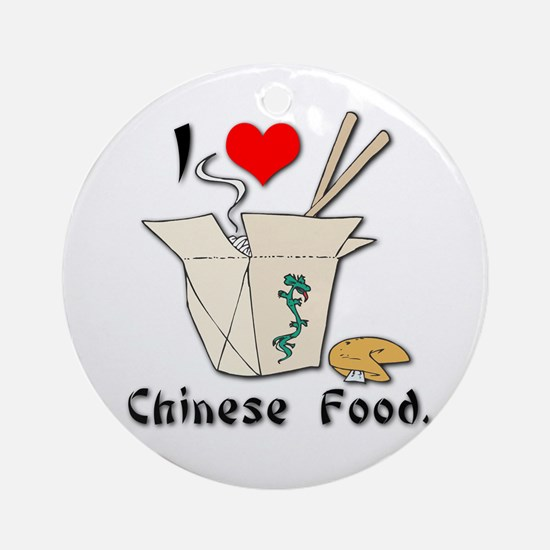 I Heart (Love) Chinese Food Ornament (Round)