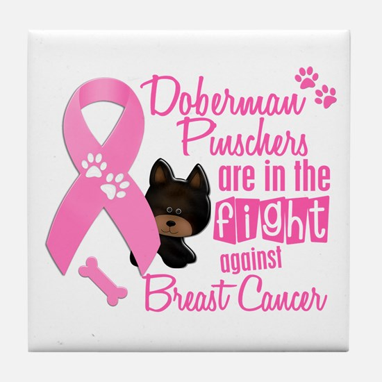 Dobermans Against Breast Cancer 2 Tile Coaster