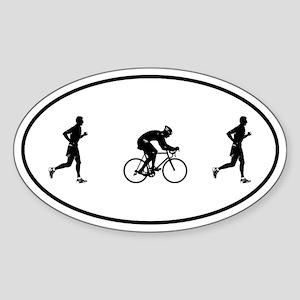 Men's Duathlon Oval Sticker