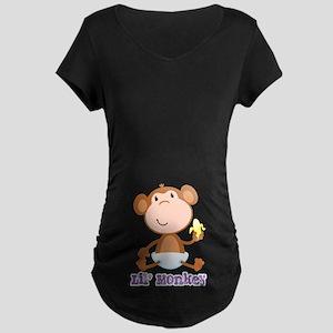Lil' Monkey Smile Maternity Dark T-Shirt