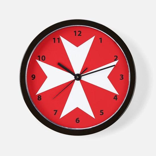 White Maltese Cross Wall Clock