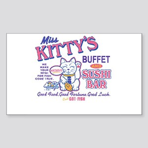 miss kittys sushi bar Rectangle Sticker