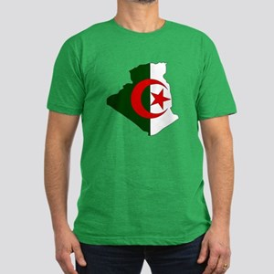 Algeria Flag Map Men's Fitted T-Shirt (dark)