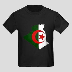Algeria Flag Map Kids Dark T-Shirt