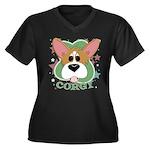 Corgi Stars Women's Plus Size V-Neck Dark T-Shirt