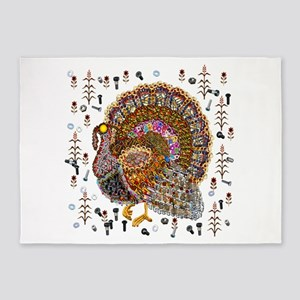 Metal Thanksgiving Turkey 5'x7'Area Rug