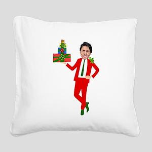christmas justin trudeau Square Canvas Pillow