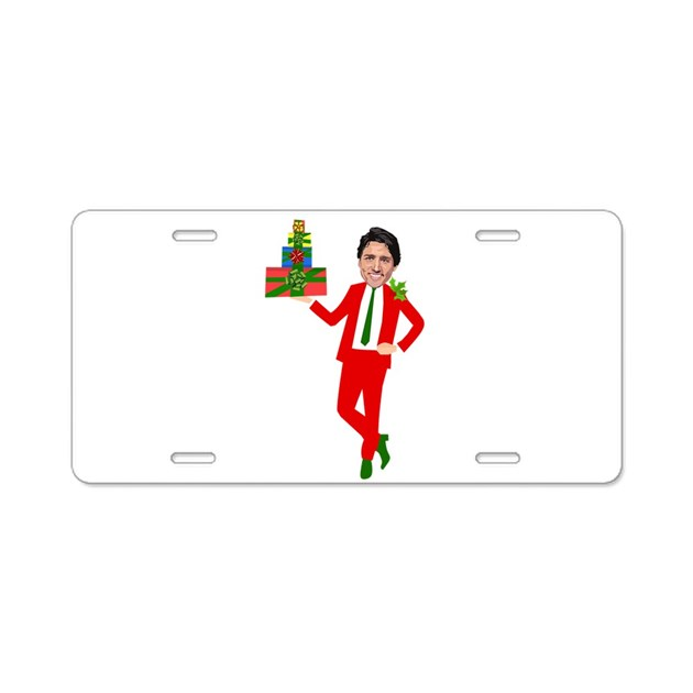 christmas justin trudeau Aluminum License Plate by Admin