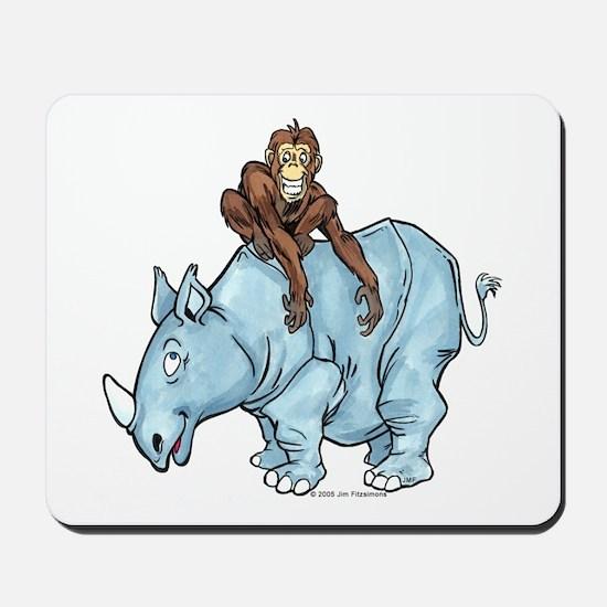 Chimp on Rhino Mousepad