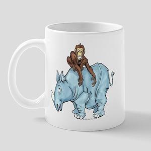 Chimp on Rhino Mug