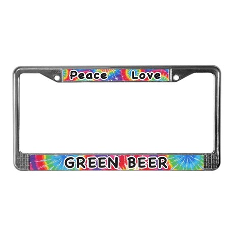 Peace Love Green Beer License Plate Frame
