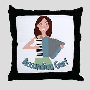 Accordion Girl Throw Pillow