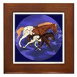 Trot On Appaloosa Mare & Foal Framed Tile