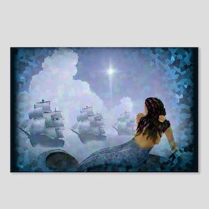 La Sirena Mermaid and 3 Ships Postcards