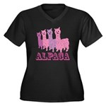 Alpaca 4 P Women's Plus Size V-Neck Dark T-Shirt
