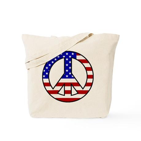 U.S. Flag Peace Sign Tote Bag