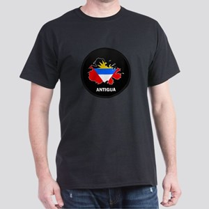 Flag Map of Antigua Dark T-Shirt