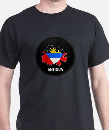 Flag Map of Antigua T-Shirt