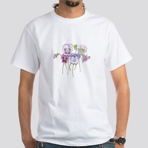 Pretty Pansy White T-Shirt