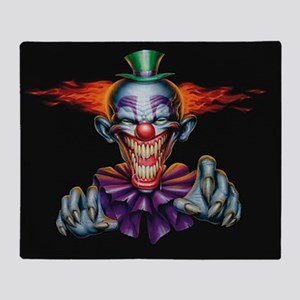 Killer Evil Clown Throw Blanket