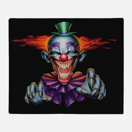 Killer Evil Clown Throw Blanket