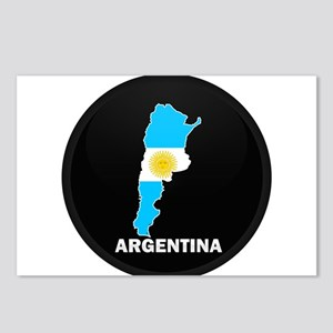 Flag Map of Argentina Postcards (Package of 8)