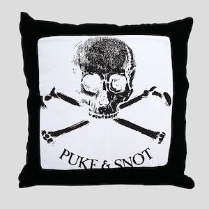 Puke N Snot Skull Logo Throw Pillow