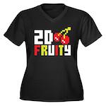 2D Fruity Women's Plus Size V-Neck Dark T-Shirt