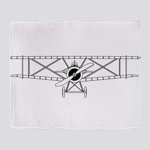 Biplane Isolated Outline Throw Blanket