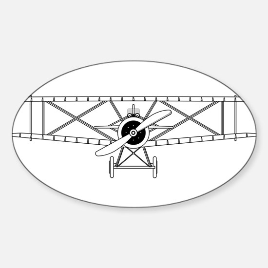 Biplane Isolated Outline Decal