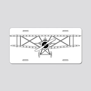 Biplane Isolated Outline Aluminum License Plate