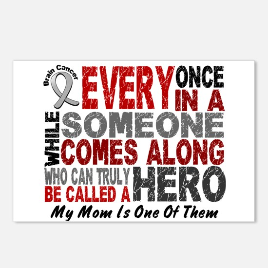 HERO Comes Along 1 Mom BRAIN CANCER Postcards (Pac