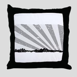 Town Silhouette Grey Grunge Throw Pillow
