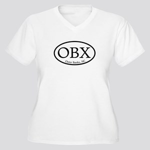 OBX Outer Banks, NC Oval Women's Plus Size V-Neck