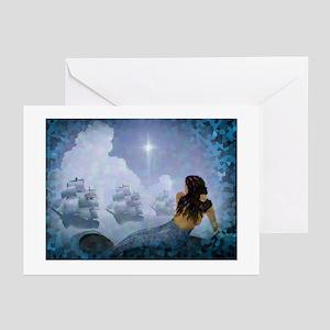 La Sirena Mermaid and Three Ships Greeting Cards