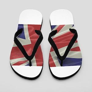 Silk Union Jack Flag Closeup Flip Flops