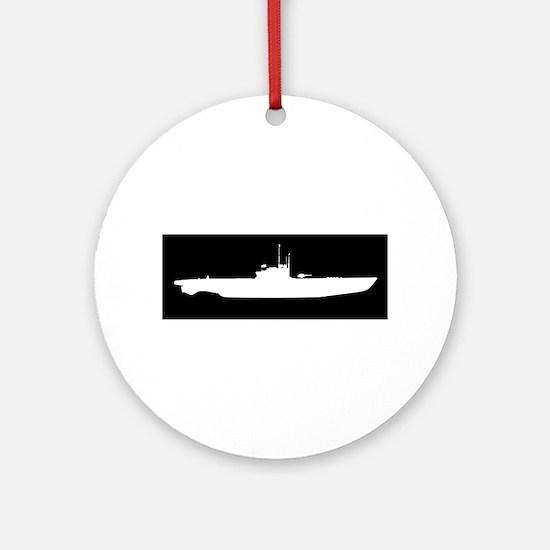 U Boat In White Silhouette Round Ornament