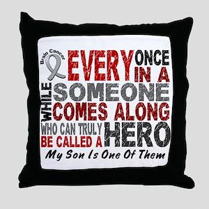 HERO Comes Along 1 Son BRAIN CANCER Throw Pillow