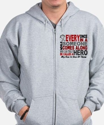 HERO Comes Along 1 Son BRAIN CANCER Zip Hoodie
