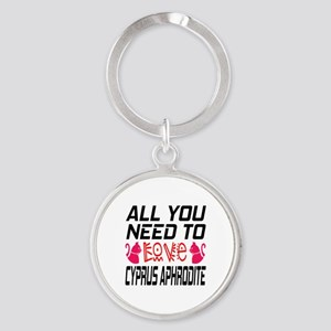 All You Need To Love Cyprus Aphrodi Round Keychain